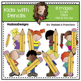 Kids with Pencils Clip Art Set