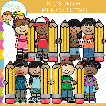 Kids with Pencils Two: Writing Clip Art