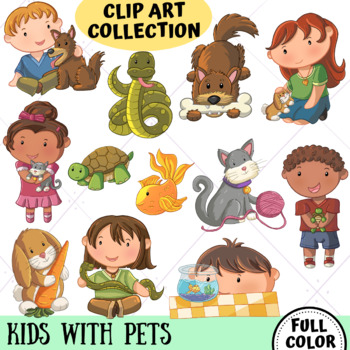 Kids with Pets Cute Clip Art Collection