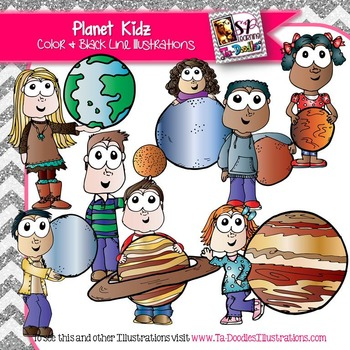 Kids with Planets Clip Art