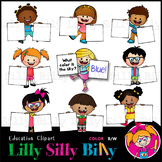 Kids with Q & A Placards - B/W & Color clipart illustratio