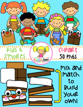 Kids with S'mores Clipart
