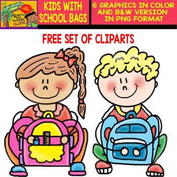 Kids with School Bags - FREE - Clipart Set -