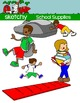 Kids with School Supplies / Back to School Clipart 300dpi Color Gray Black Lined