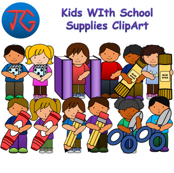 Kids with School Supplies ClipArt Bundle