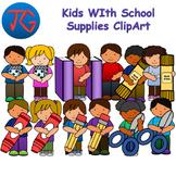 Kids with School Supplies ClipArt Bundle