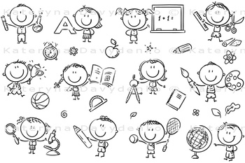 Kids with School Things