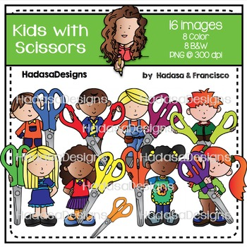 Kids with Scissors Clip Art Set