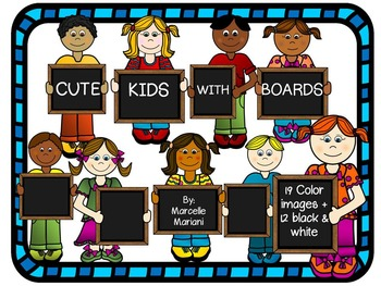 Kids with Signs, Boards, Plaques ClipArt Graphics- Commercial & Personal Use