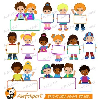 Kids with Signs. Bricht Kids .Frame Board. Clipart.