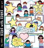Kids with Signs - Text Blocks Clip Art Download