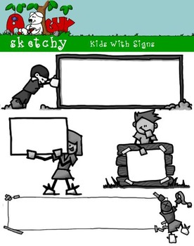 Kids with Signs Clip art / Graphics - 300dpi, Color, Grayscale, BW
