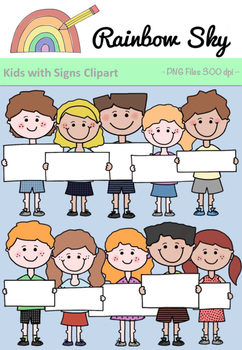 Kids with Signs Clipart