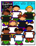 Kids with Signs {Creative Clips Digital Clipart}