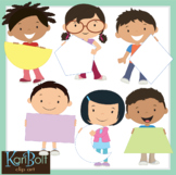Kids with Signs and Shapes Clip Art