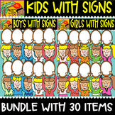 Kids with Signs - cliparts Set - #30 Items