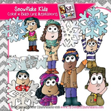 Kids with Snowflakes Clip Art