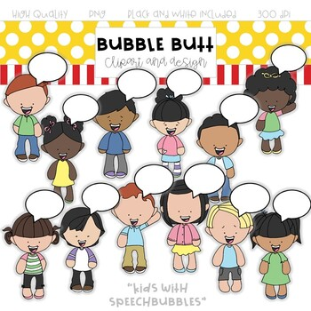 Kids with Speech Bubbles clip art - by Bubble Butt Clipart and Design