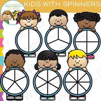 Kids with Spinners Clip Art