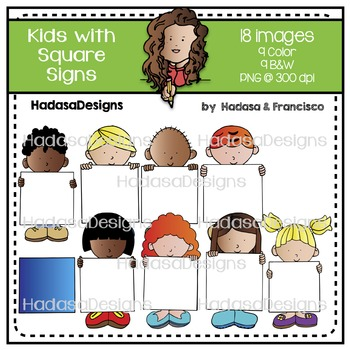 Kids with Square Signs Clip Art Set