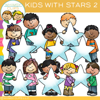Kids with Stars Clip Art - Set Two