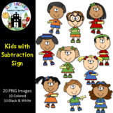 Kids with Subtraction Sign Clip Art