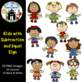 Kids with Subtraction and Equal Sign Clip Art