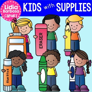 Kids with Supplies clip art for Teachers