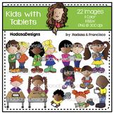 Kids with Tablets Clip Art Set