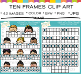 Kids with Ten Frames Clip Art