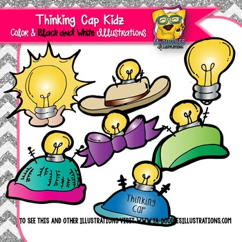Kids with Thinking Caps Commercial Use Clipart