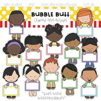 Kids with Whiteboards clip art - by Bubble Butt Clipart and Design