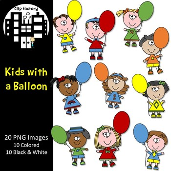 Kids with a Balloon Clip Art