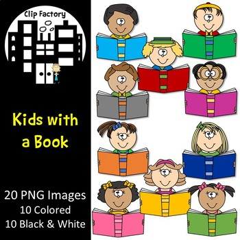 Kids with a Book Clip Art