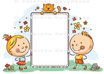 Kids with a Frame with Copy Space