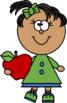 Kids with an Apple Clip Art