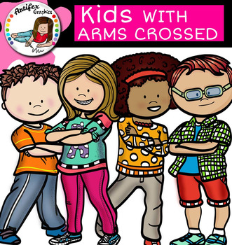Kids with arms crossed- clip art