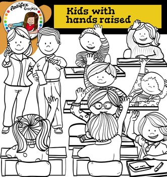 Kids with hands raised clip Art -Color and B&W-