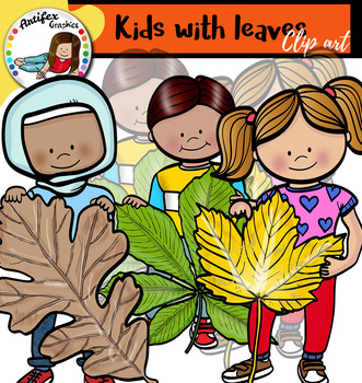 Kids with leaves clip art