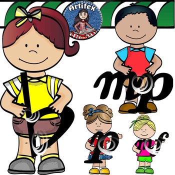 Kids with musical symbols- Color and B&W