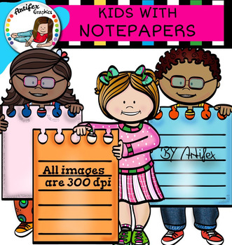 Kids with notepapers clip art