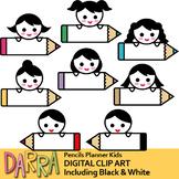 Kids with pencils labels clip art (planner clipart)