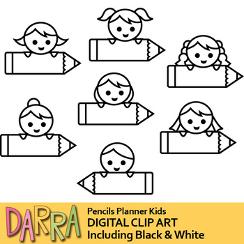 Kids with pencils labels clip art (planner clipart)