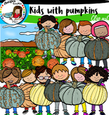 Kids with pumpkins 1 Clip Art Set