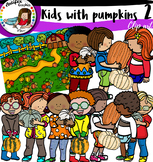 Kids with pumpkins 2 Clip Art
