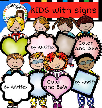 Kids with signs bundle