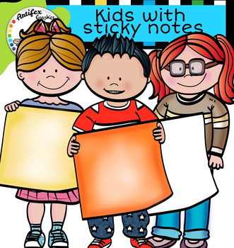 Kids with sticky notes clip art
