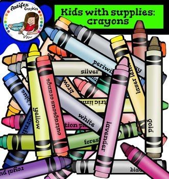 Kids with supplies-Crayons BUNDLE-