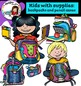Kids with supplies: backpacks and pencil cases clip art