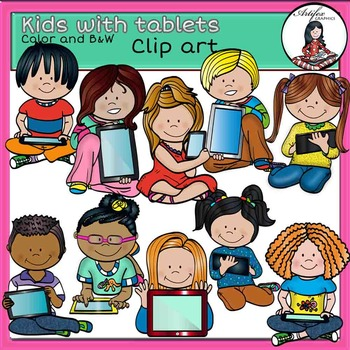 Kids with tablets clip art- color and B&W